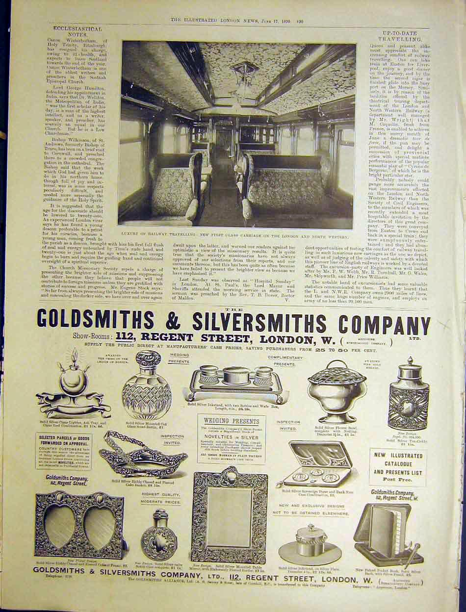 Print Railway First Carriage Goldsmiths Silversmiths 1899 90Maa0 Old Original