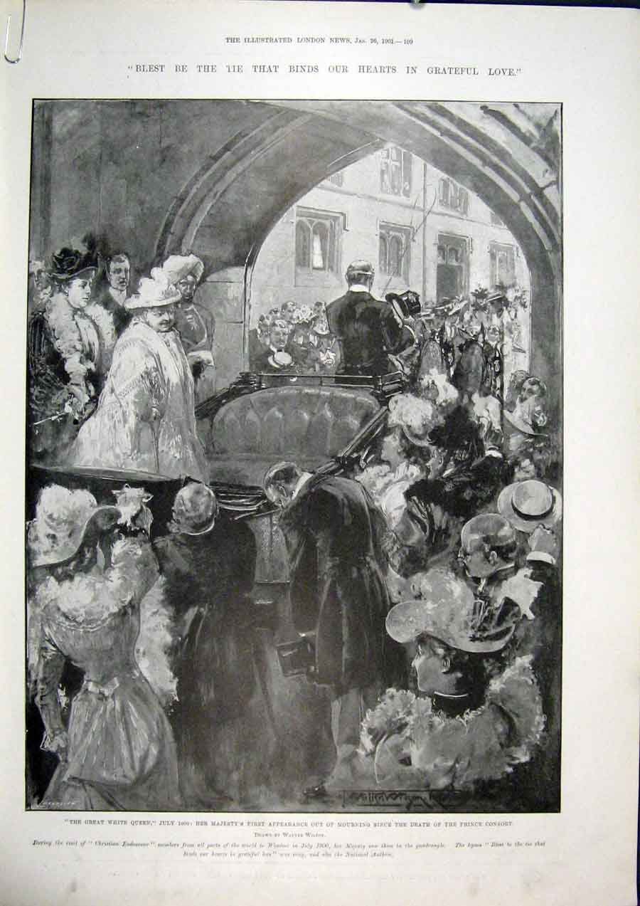 Print Queen Mourning Smith Winchester Balfour Osborne 1901 09Amaa0 Old Original