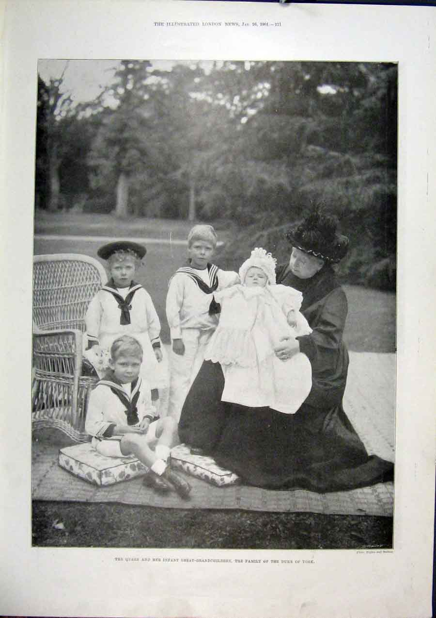 Print Duke Queen Portrait York Grandchildren Royal Garden 11Maa0 Old Original