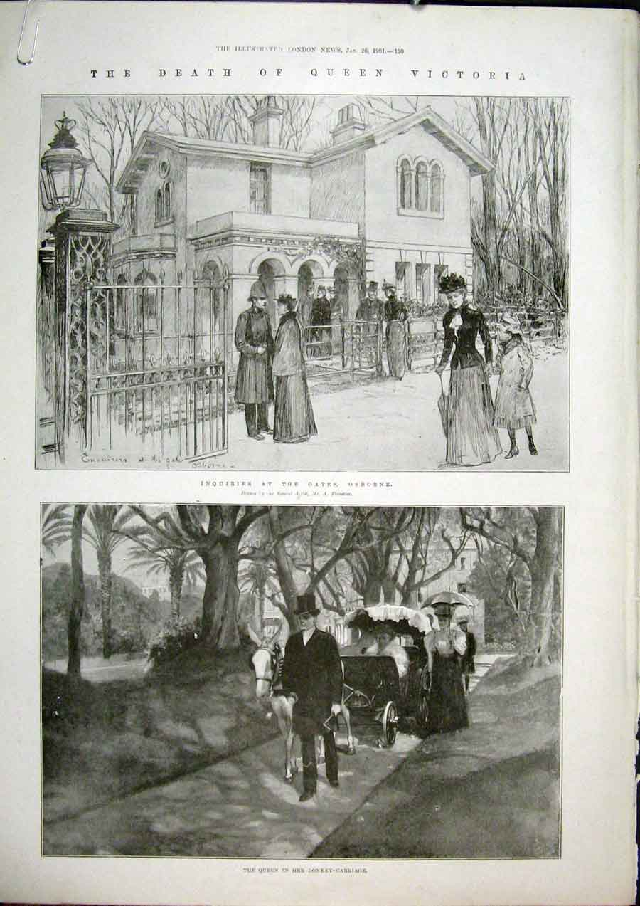 Print Death Victoria Osborne Donkey Carriage Whippingham 1901 20Amaa0 Old Original