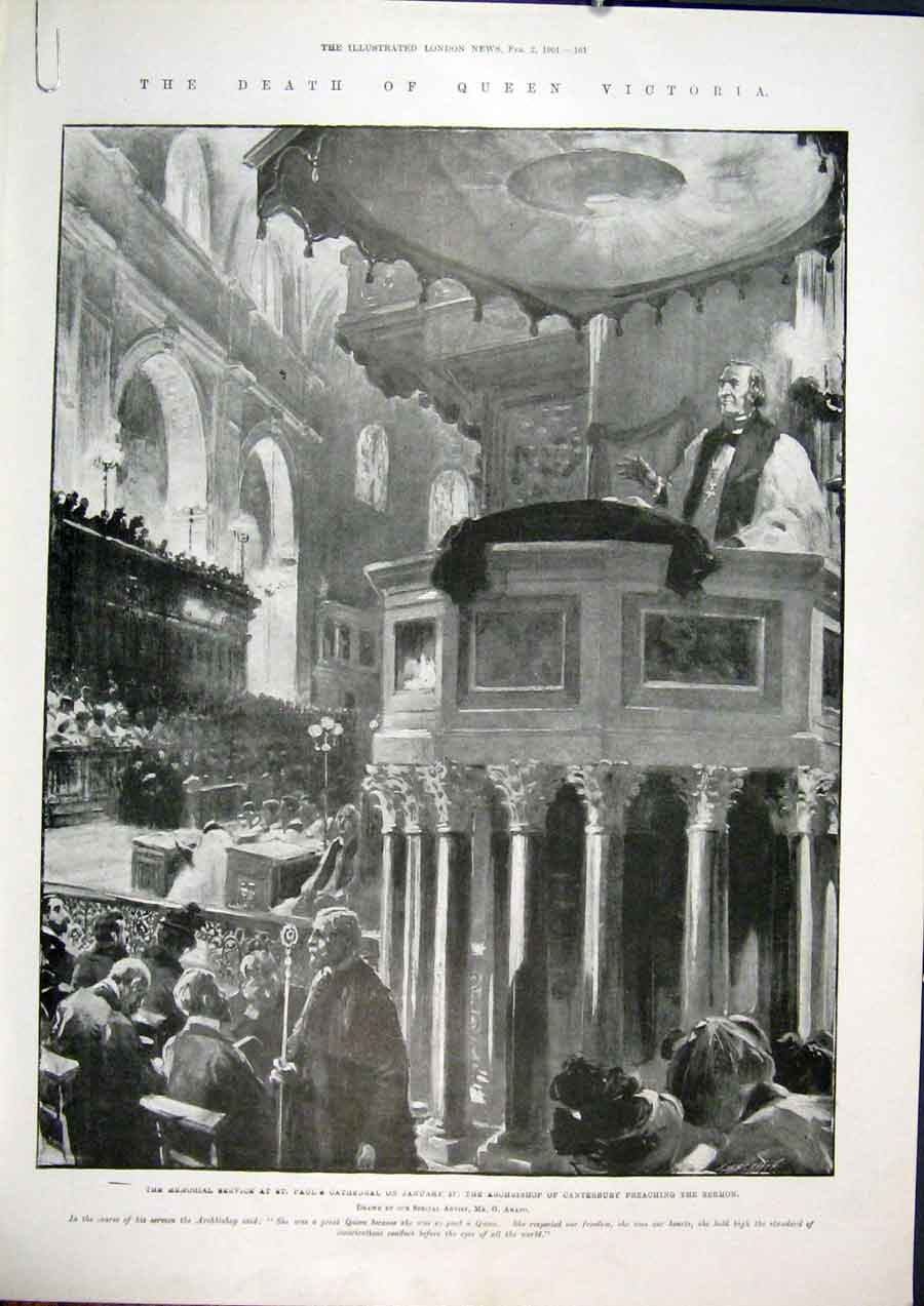 Print Victoria Death Canterbury Cathedral Windsor Chapel 1901 61Amaa0 Old Original