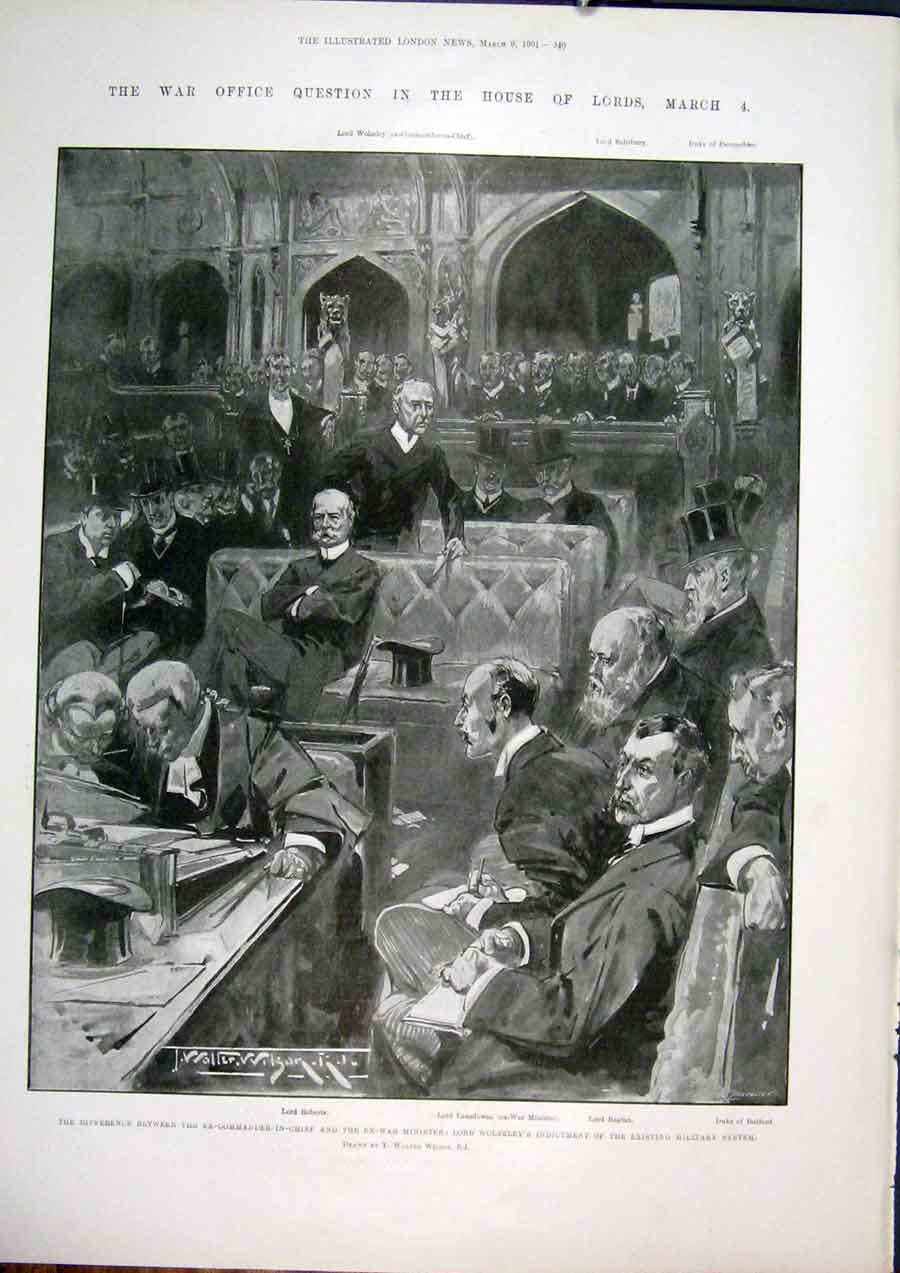Print War Office House Lords Wolseley Military 1901 40Maa0 Old Original