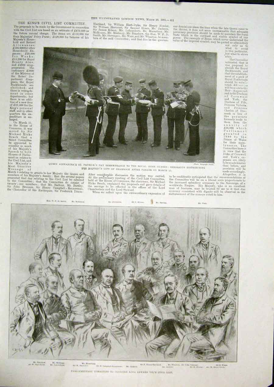 Print Shamrock Irish Patrick'S Parliament Committee 1901 11Maa0 Old Original
