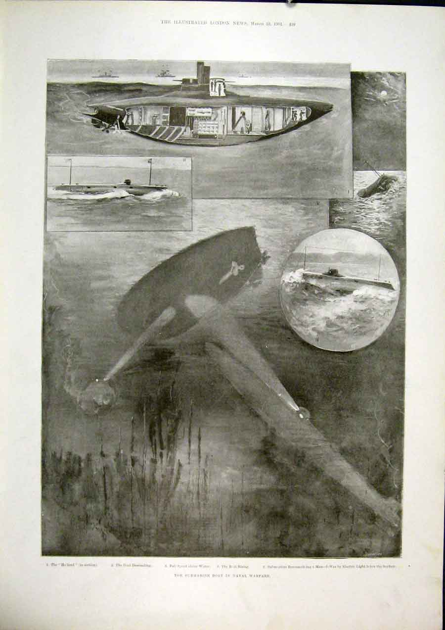 Print Submarine Boat Naval Warfare Holland 1901 29Maa0 Old Original