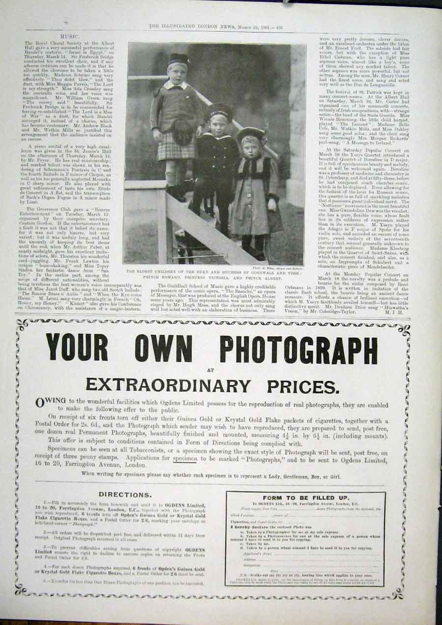 Print Children Duke Cornwall Photograph Advert 1901 36Maa0 Old Original