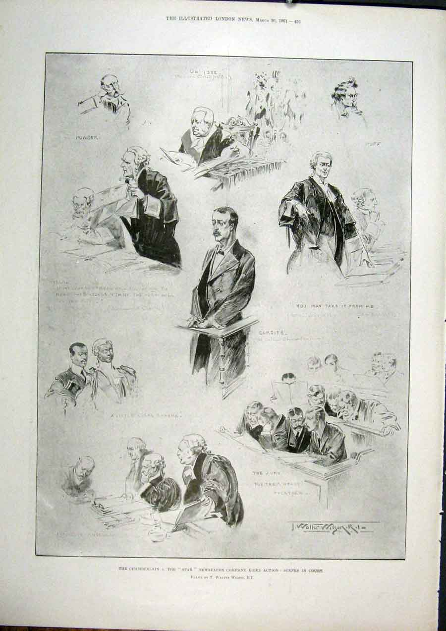 [Print Wilson Chamberlain Star Newspaper Court Sketches 1901 56Maa0 Old Original]
