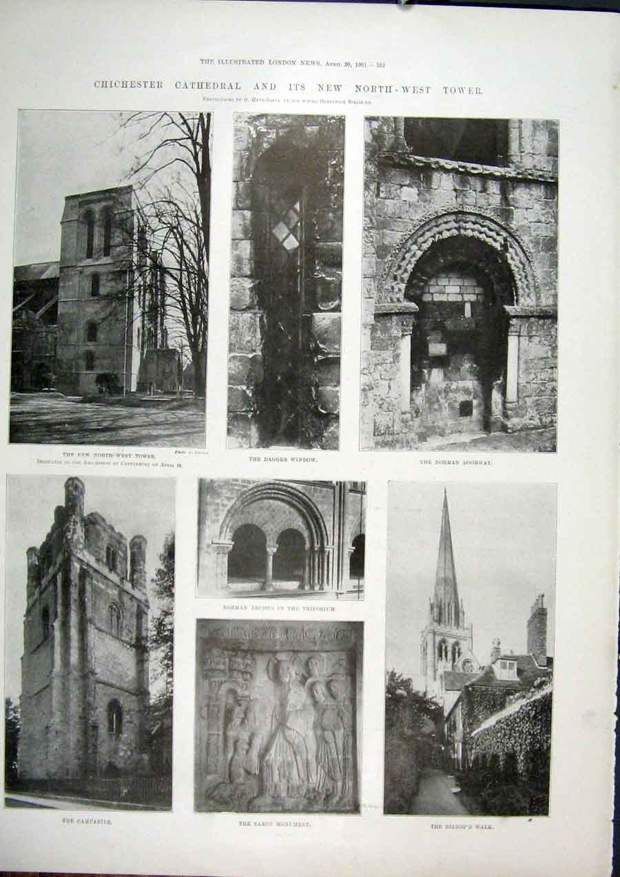 Print Chichester Cathedral Tower Saxon Monument 1901 62Maa0 Old Original