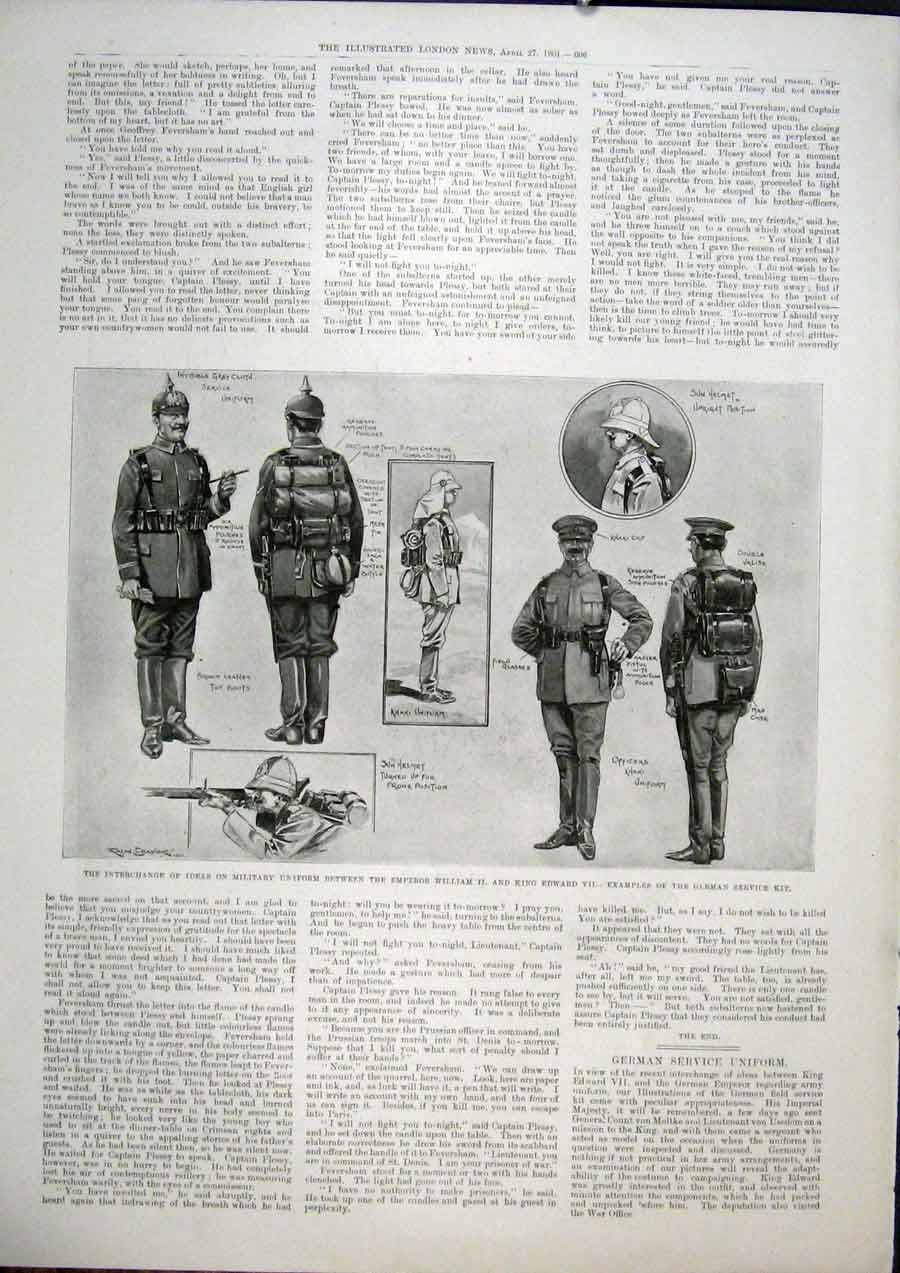 Print Military Uniform German Service Army 1901 06Maa0 Old Original