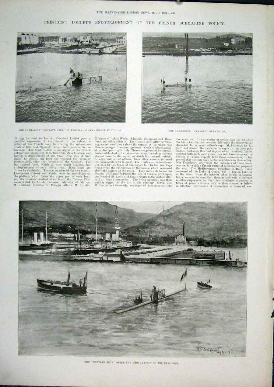 Print Loubet Submarine Gustave Zede Gymnote Toulon 1901 46Maa0 Old Original