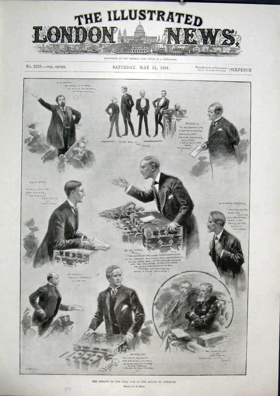 Print Debate Coal Tax House Commons London 1901 68Maa0 Old Original