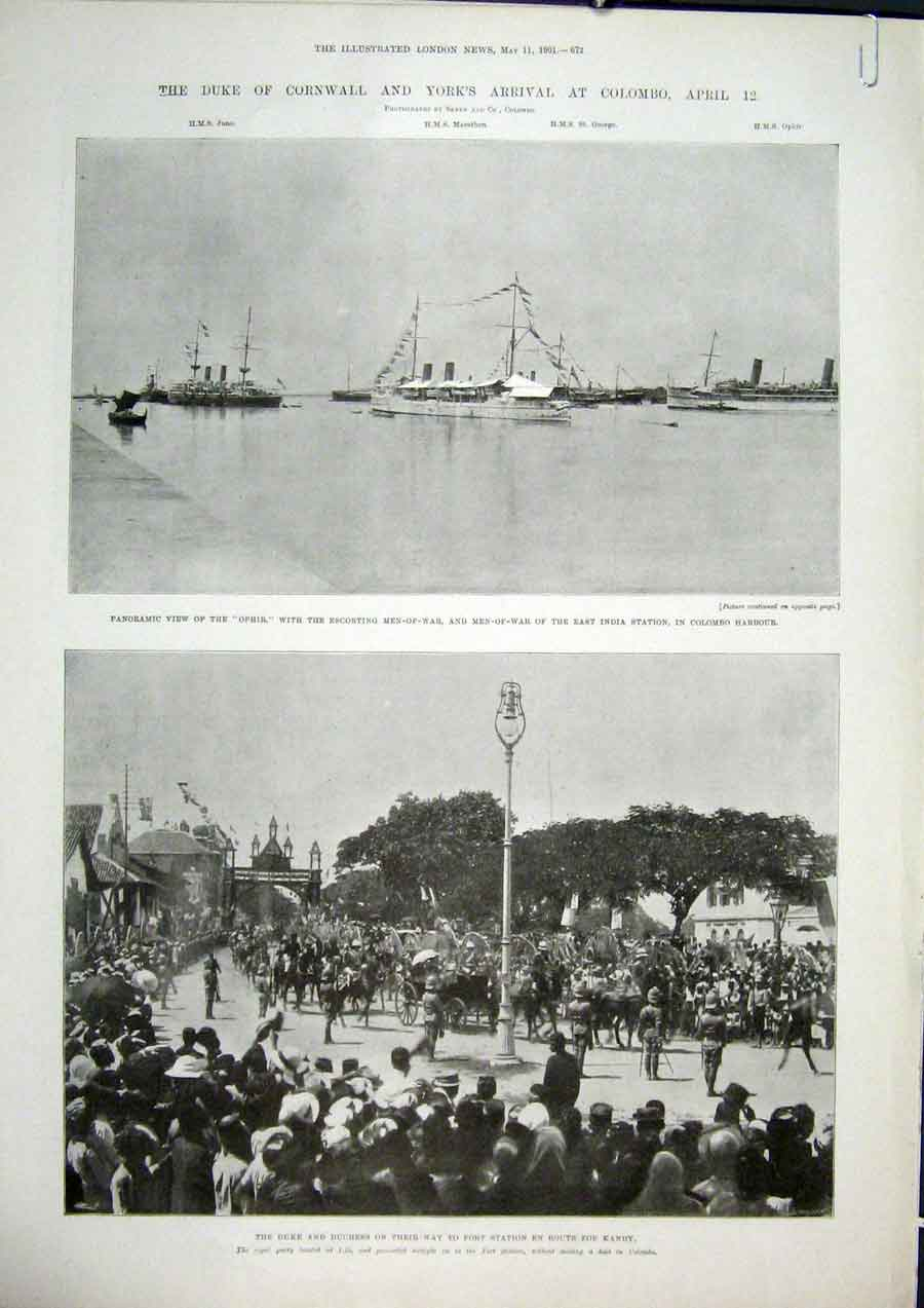 Print Ophir Men-Of-War India Station Colombo Harbour Kandy 73Amaa0 Old Original