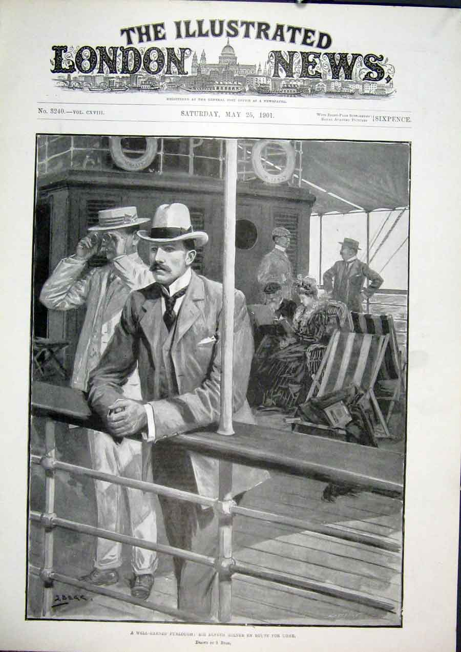 Print Furlough Milner Ship Deck 1901 40Maa0 Old Original