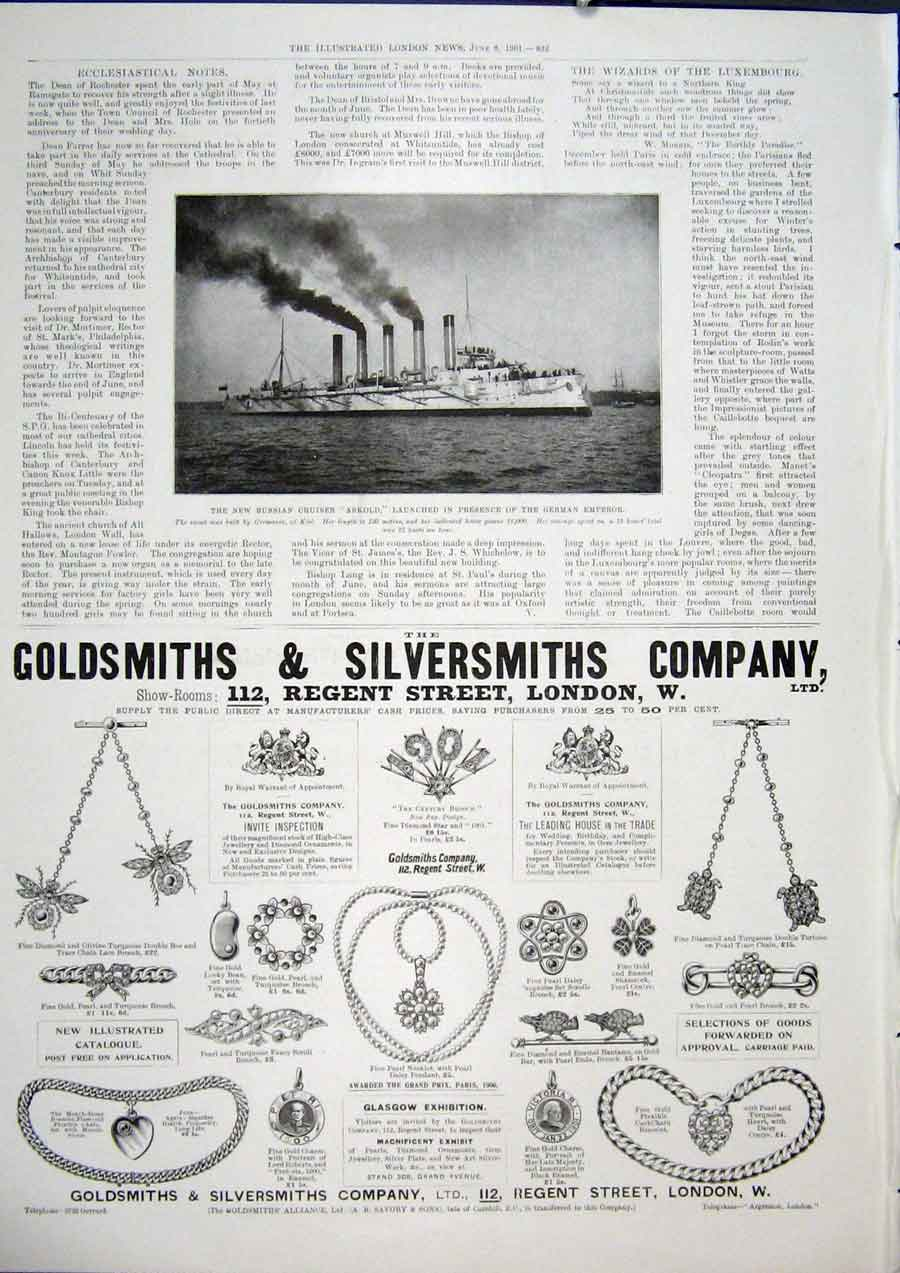 Print Askcruiser Ship Goldsmiths Silversmiths Necklace 32Maa0 Old Original