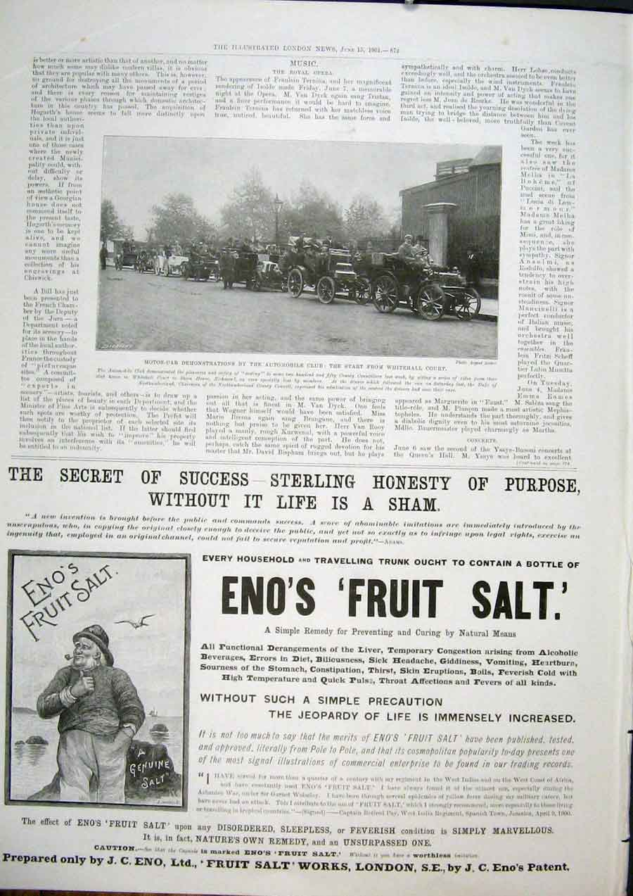 Print Motor Car Automobile Whitehall Advert Enos Fruit Salt 72Maa0 Old Original