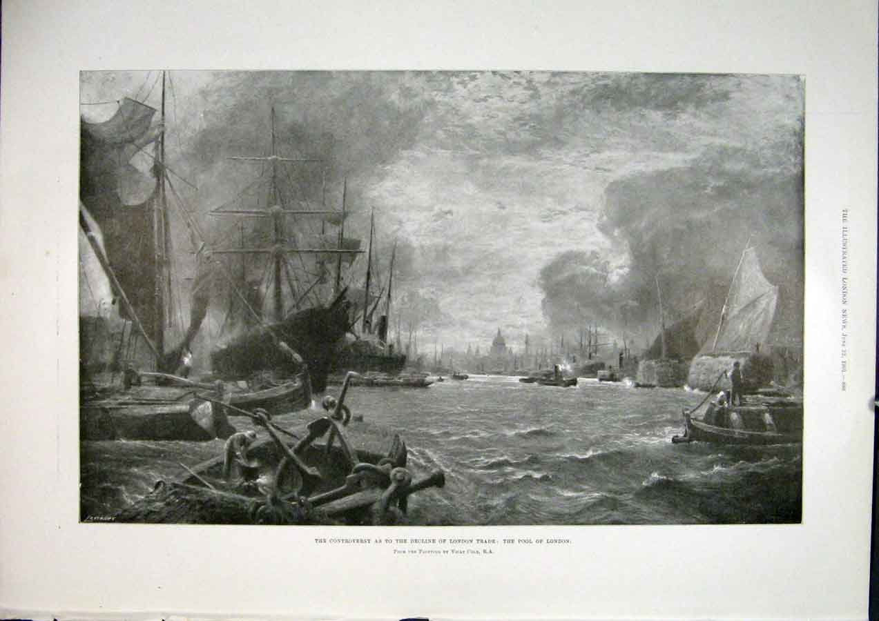 Print London Trade Pool London 1901 86Maa0 Old Original