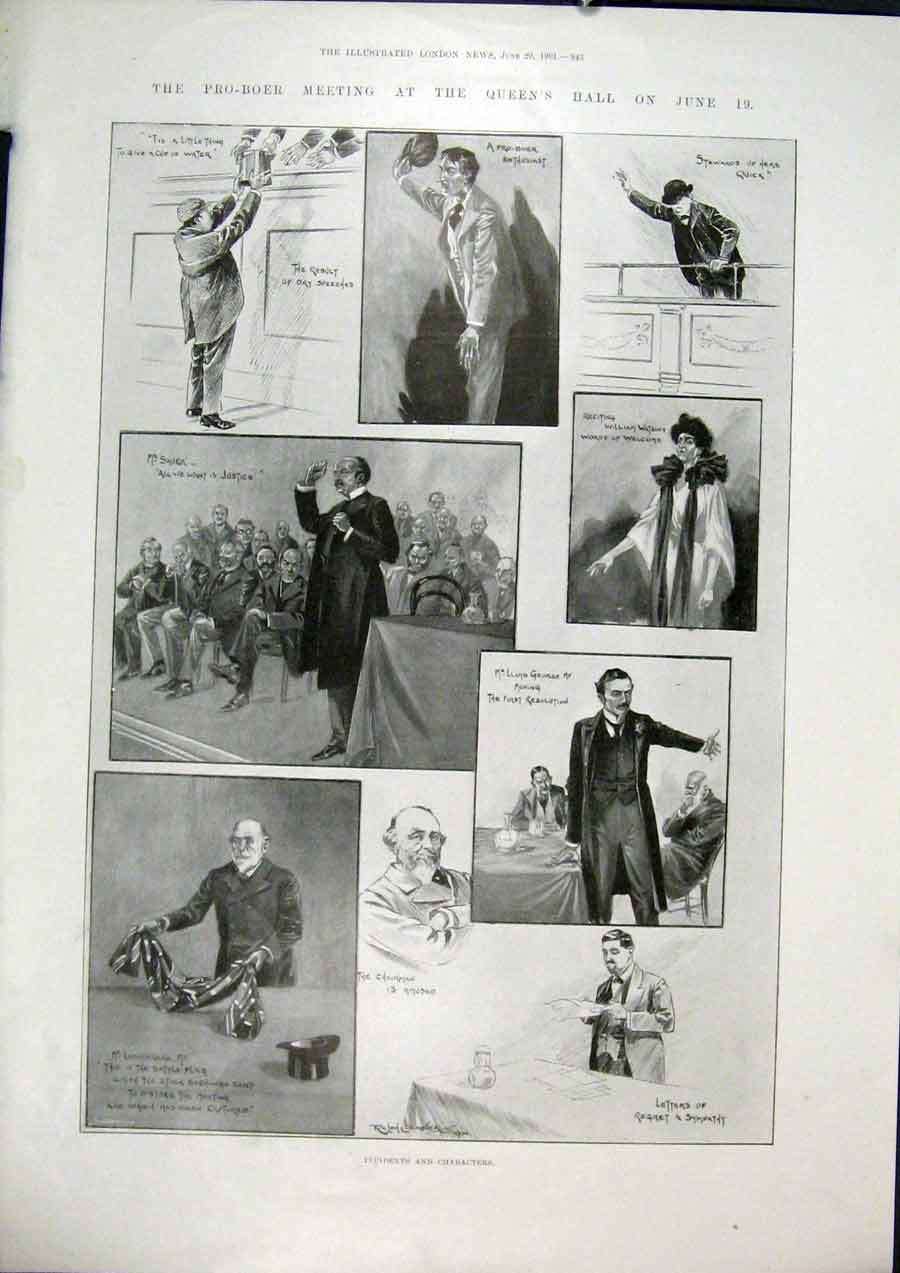 Print Boer Queen'S Hall George Sketches 1901 Africa 43Maa0 Old Original