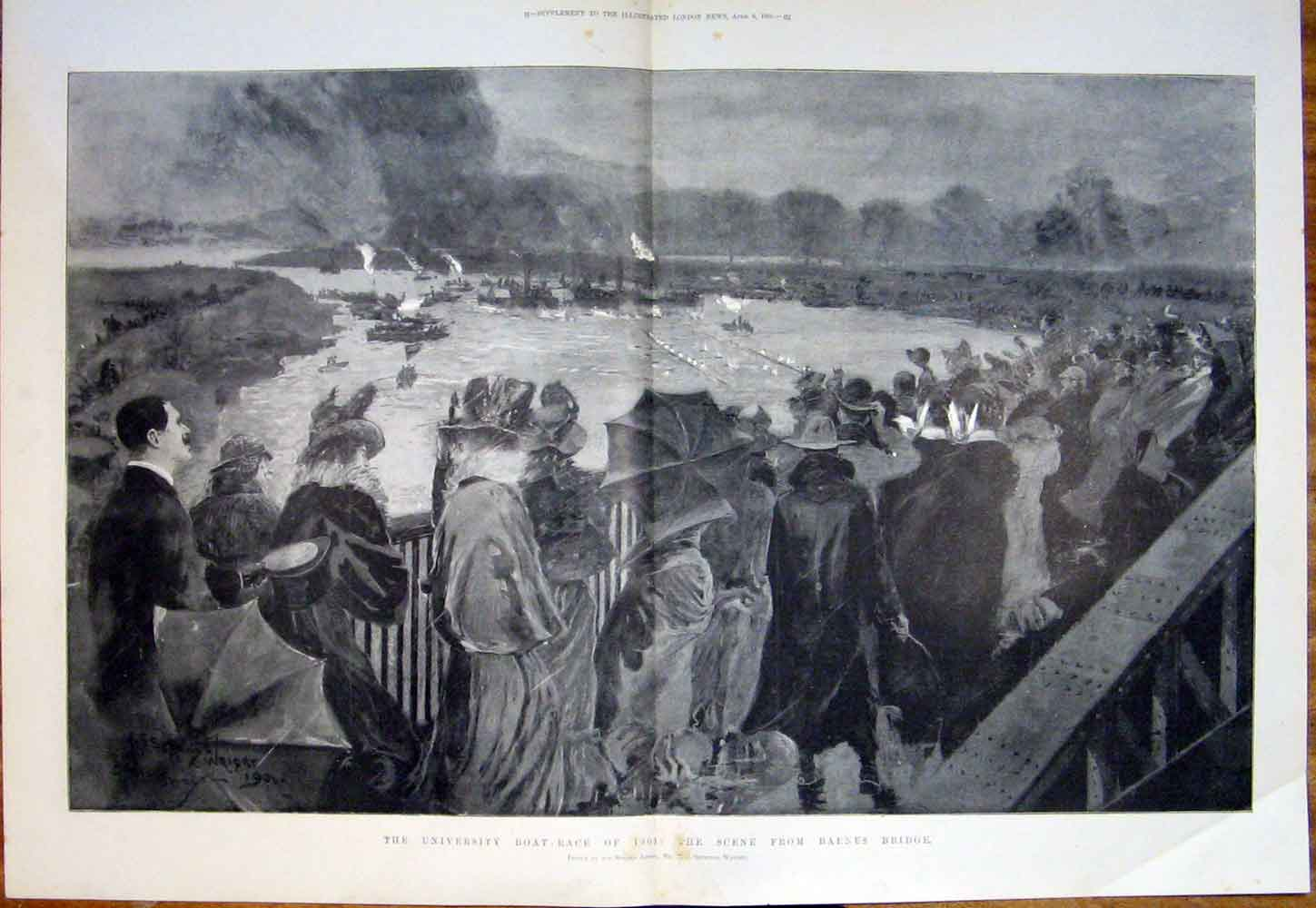 Print University Boat Race Oxford Cambridge Thames 1901 54Tmaa0 Old Original