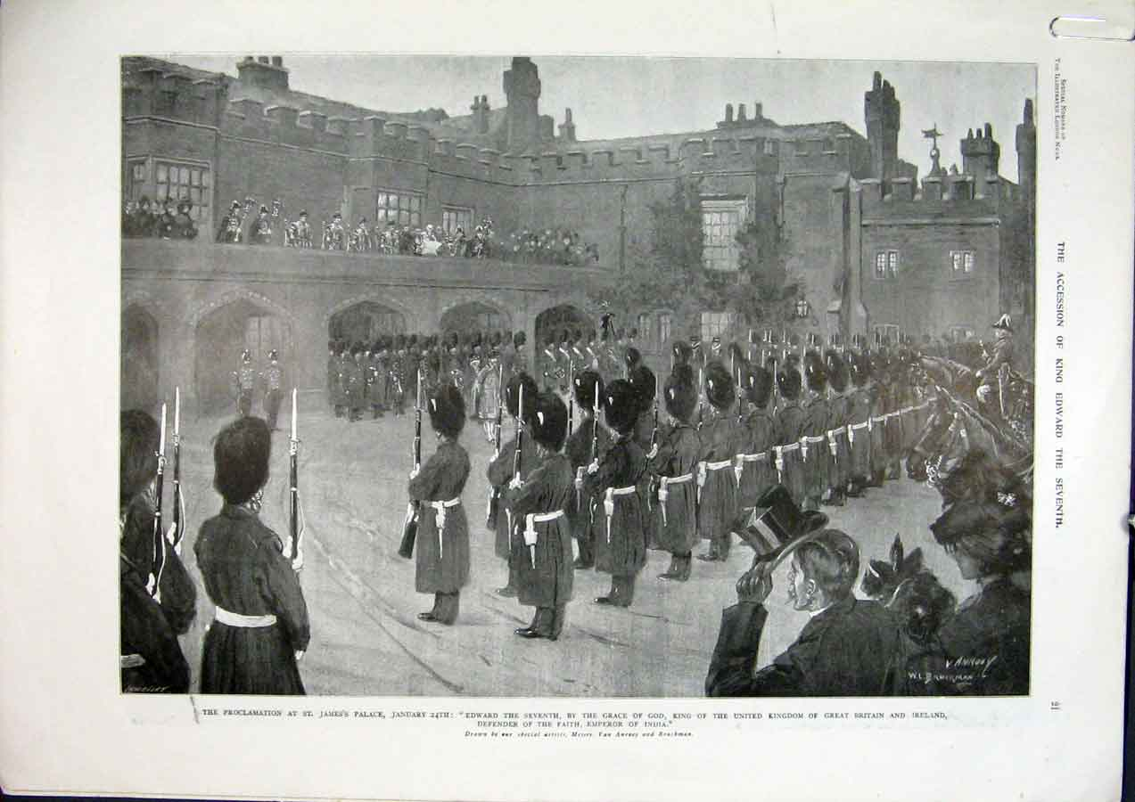 Print Jame'S Palace London Proclomation Marshall College 1901 97Amaa0 Old Original