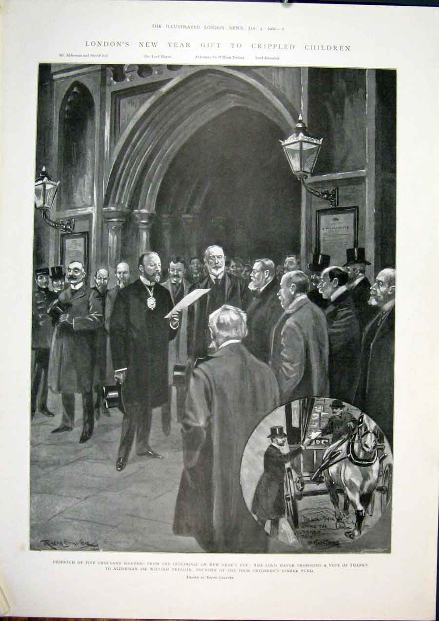 Print Guildhall Treloar Poor Children London Lord Mayor 1902 05Maa0 Old Original