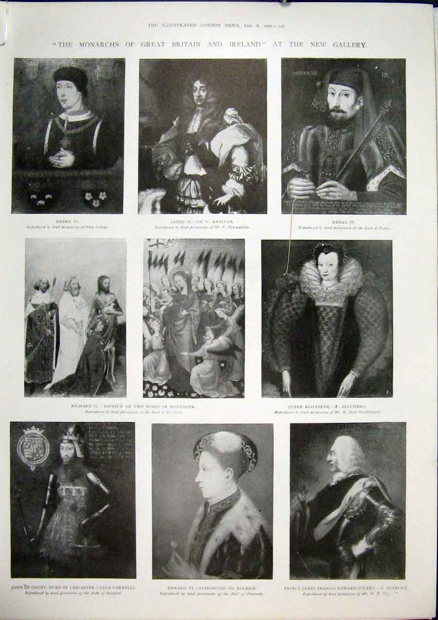 Print Monarchs Britain Ireland Gallery Fine Art 1902 97Amaa0 Old Original