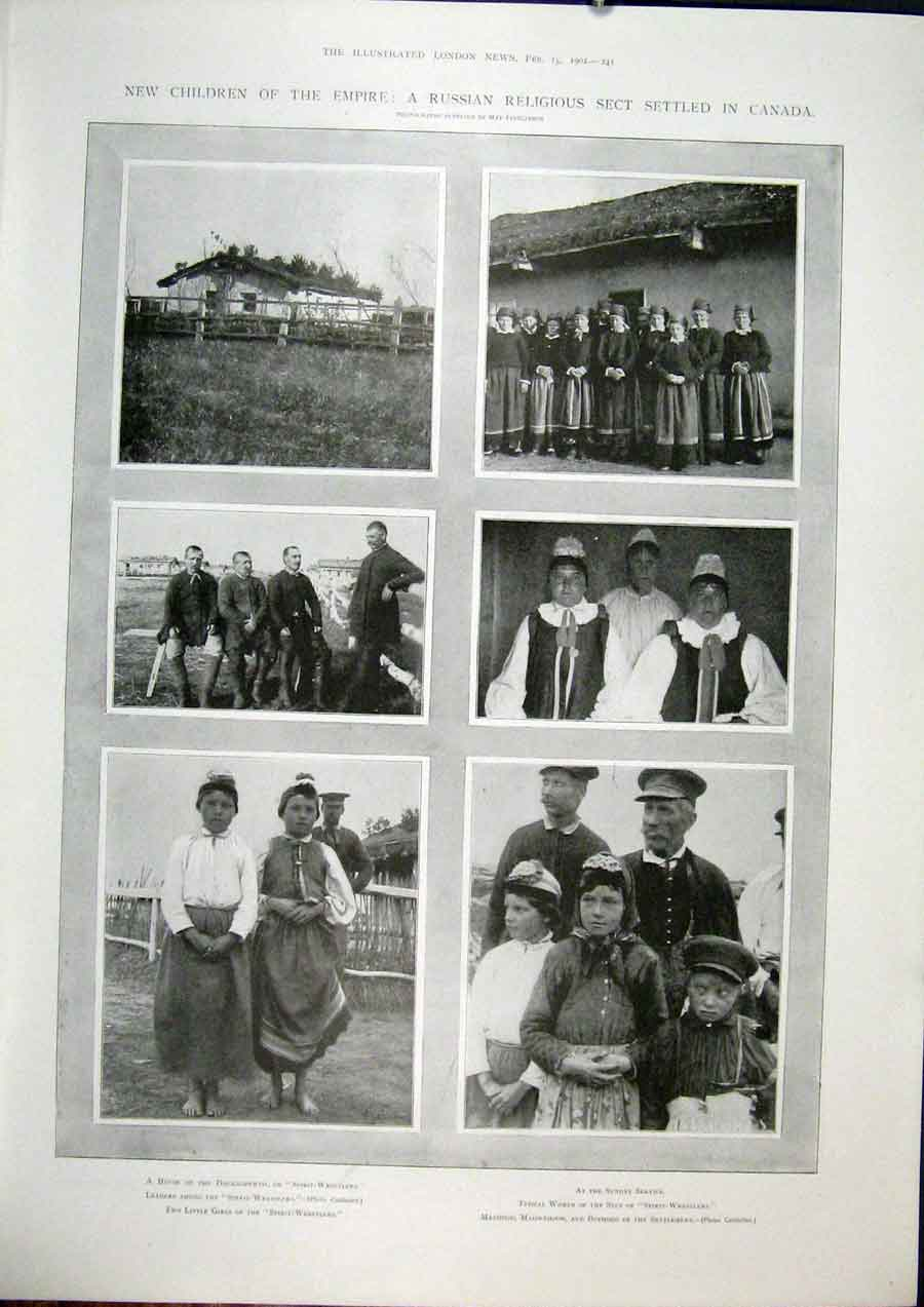 Print Russian Religious Sect Canada Children Spirit Wrestlers 41Maa0 Old Original