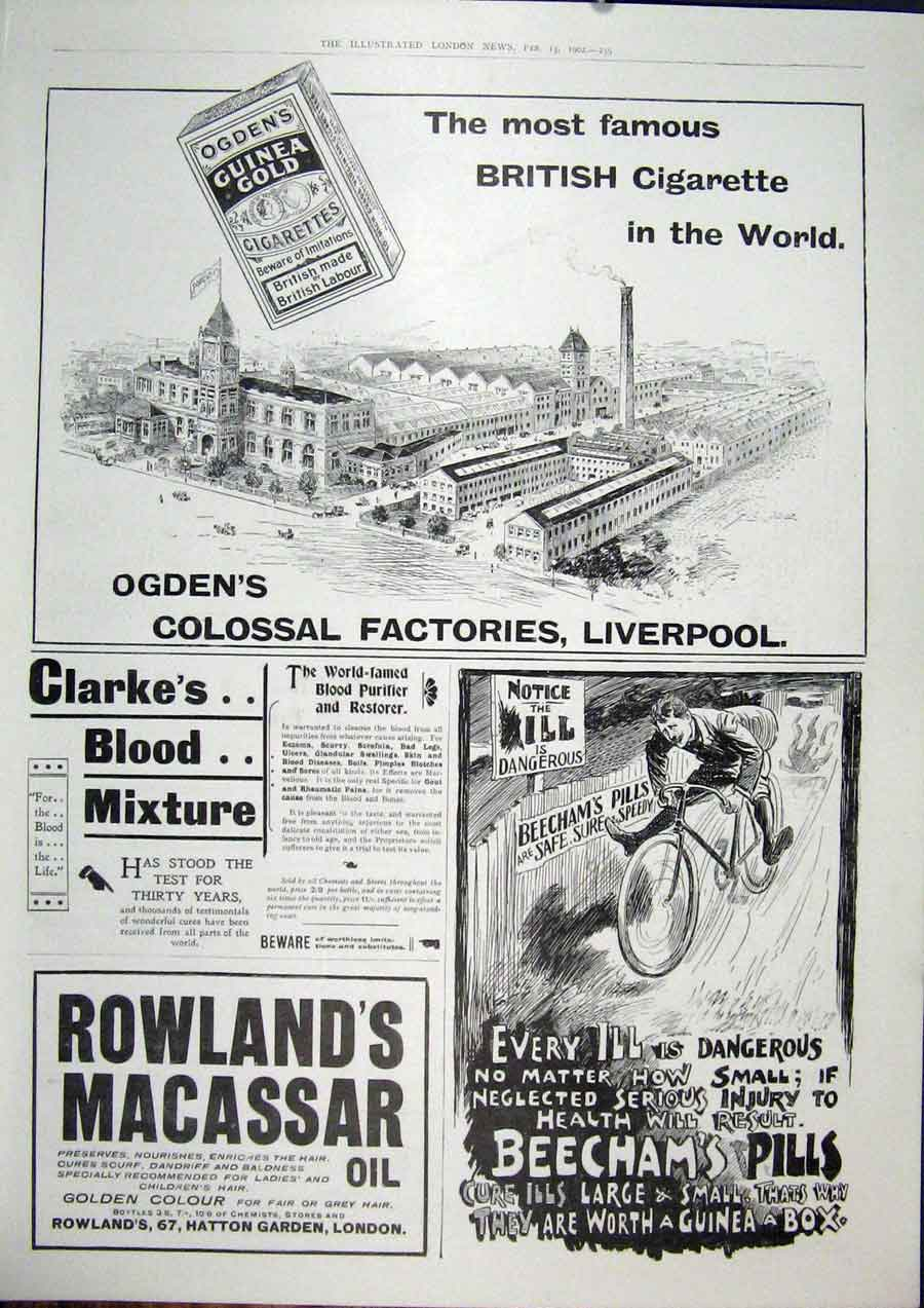 Print Ogden'S Cigarette Beechams Advert Liverpool Rowland'S 59Maa0 Old Original