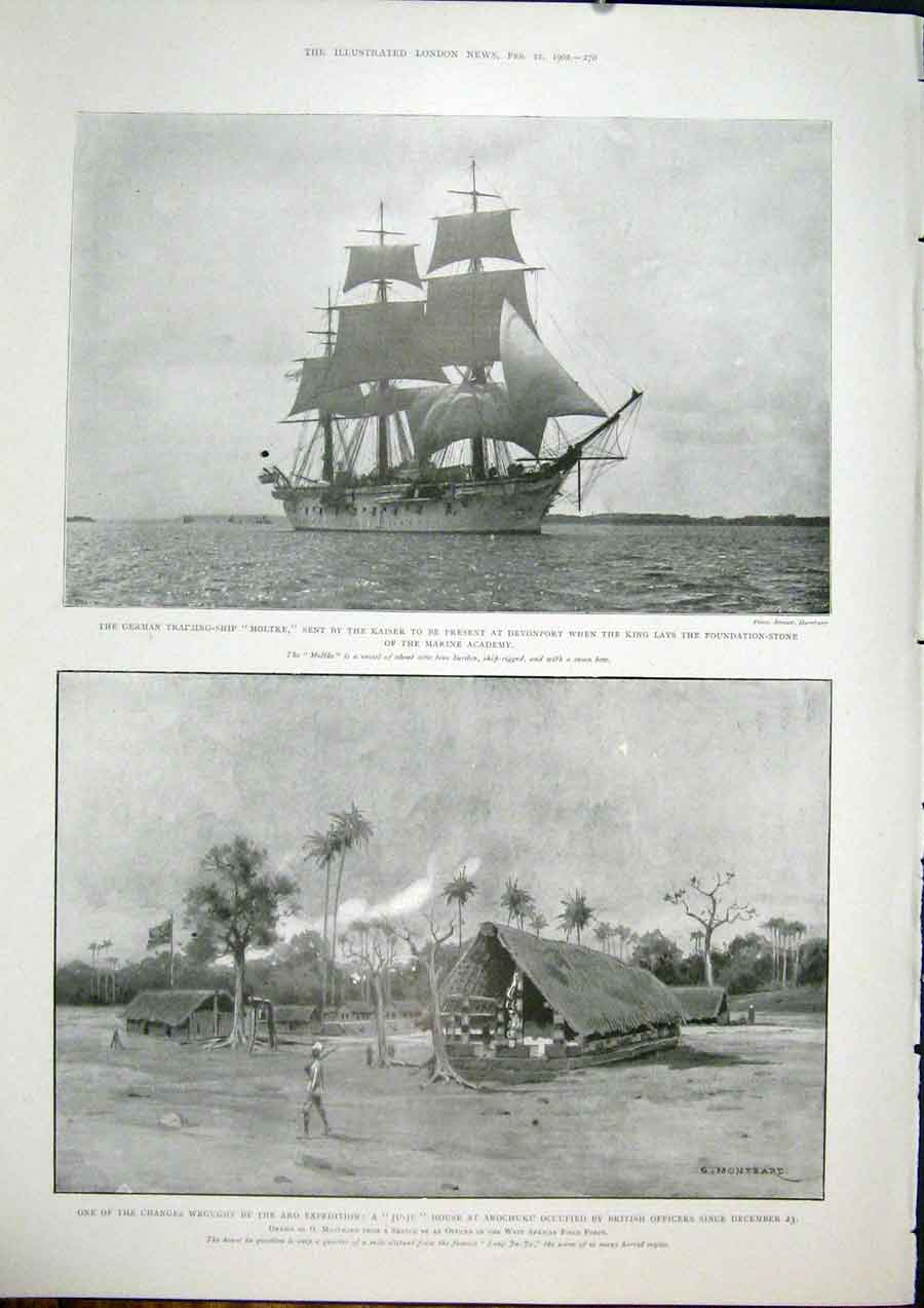 [Print Ship Moltke Devonport Aro Expedition Nigeria Africa 70Maa0 Old Original]