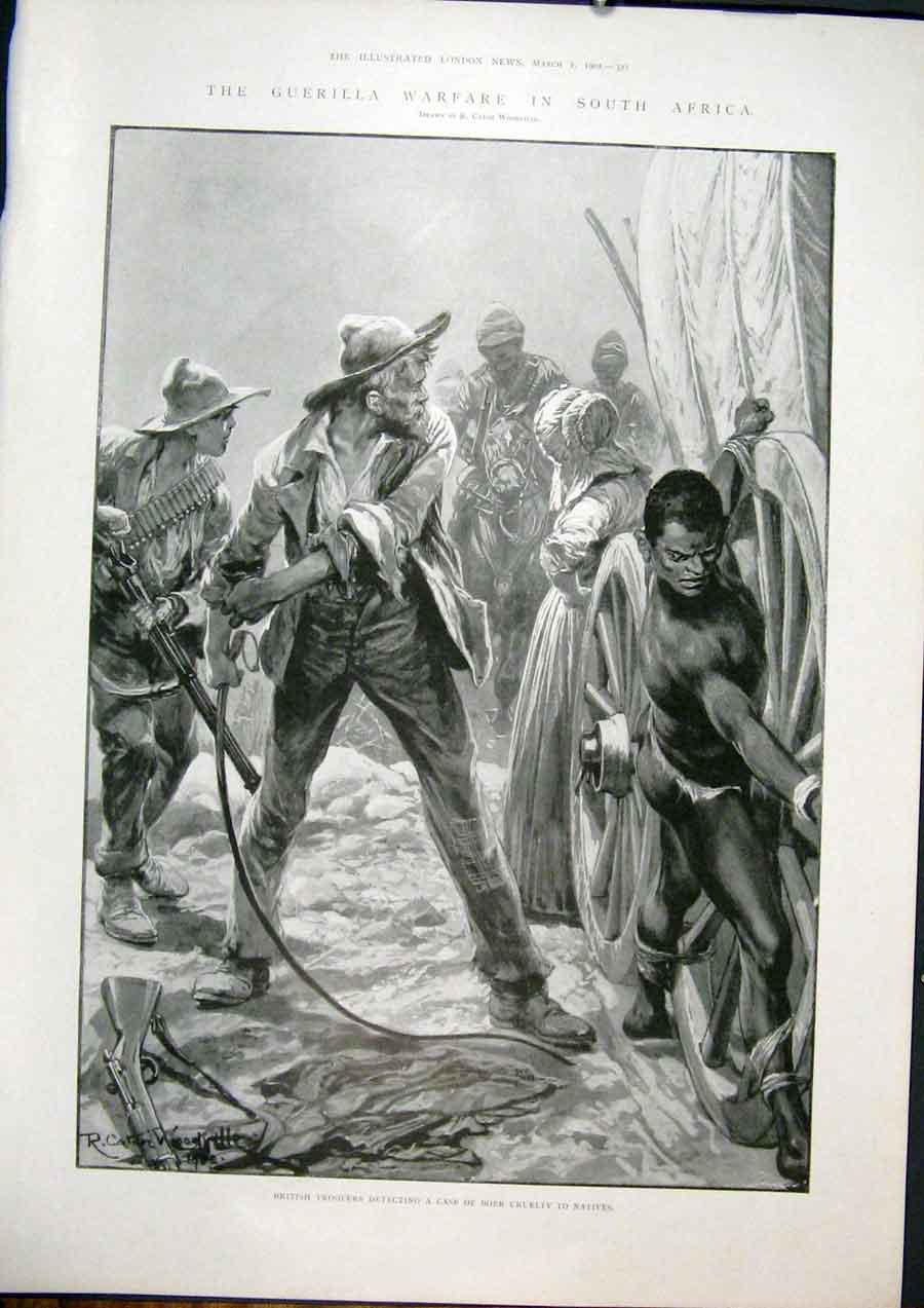 [Print Guerilla Warfare South Africa Boer Natives 1902 21Maa0 Old Original]