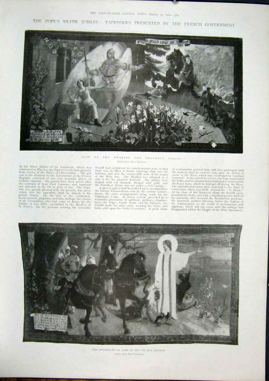 Print Pope Tapestry Joan Arc Laurens French Tapestries 1902 89Maa0 Old Original