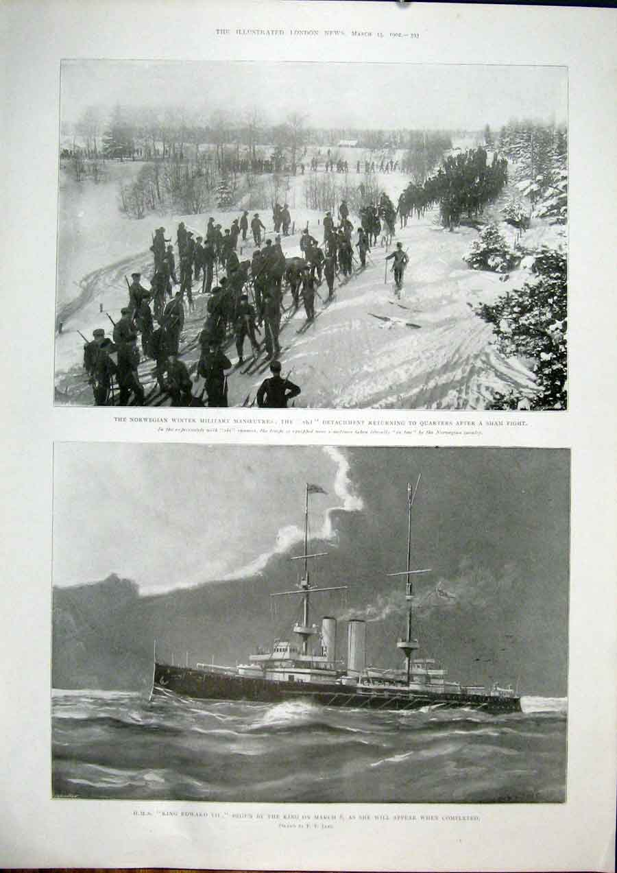 Print Norway Norwegian Military Ski Hms King Edward 1902 93Maa0 Old Original