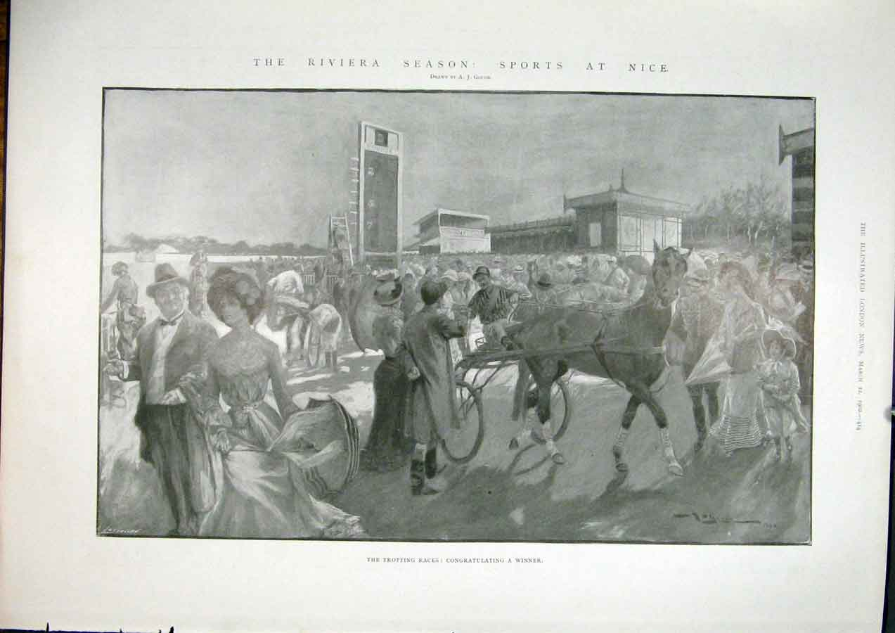 Print Riviera Nice Trotting Races Horse Race 19 14Maa0 Old Original