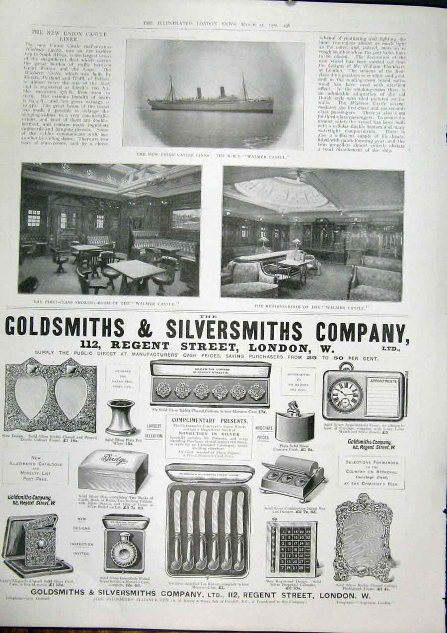 Print Goldsmiths Silversmiths London Hms Walmer Castle Ship 36Maa0 Old Original