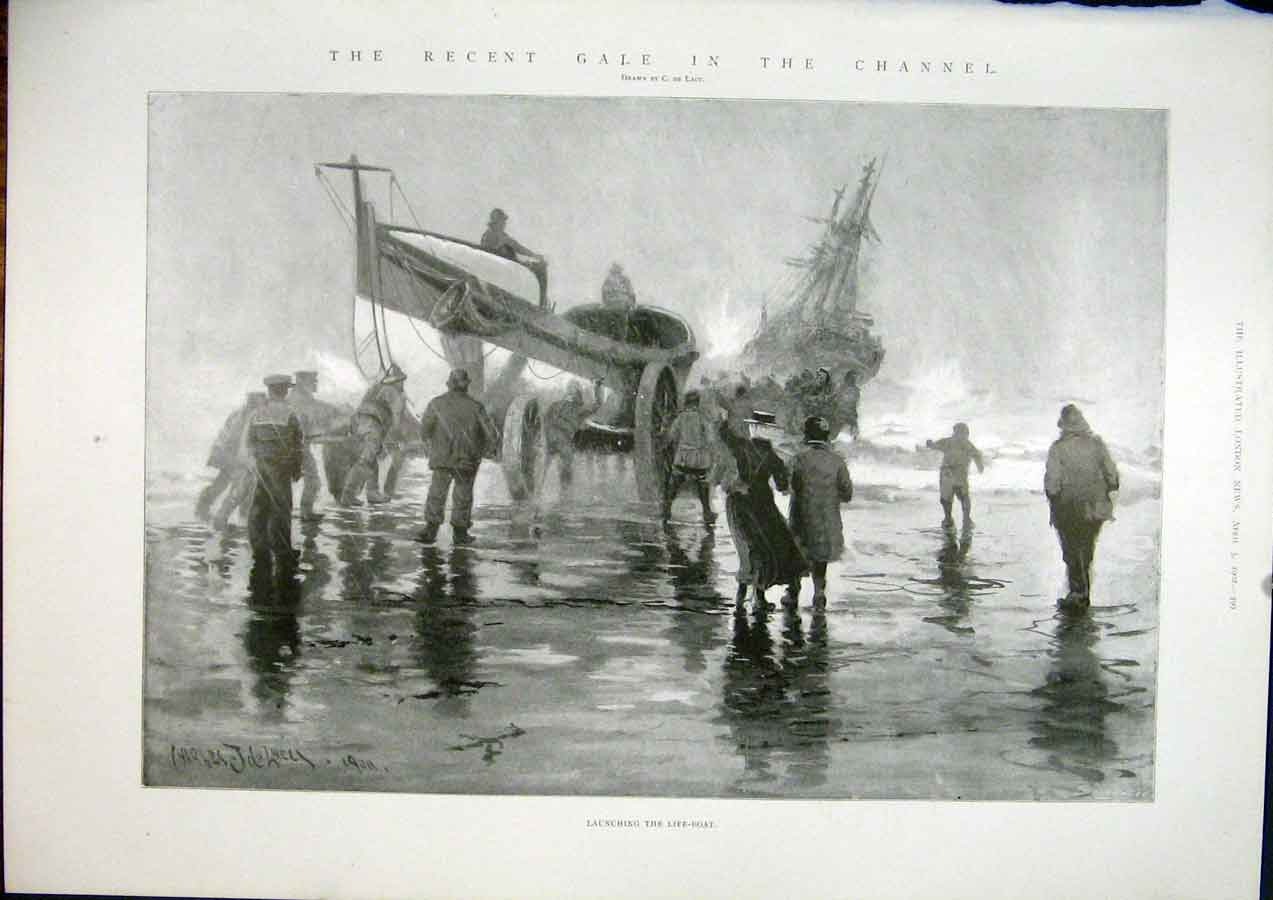 Print Channel English Life-Boat Life Boat Gale Sea Wreck 99Maa0 Old Original