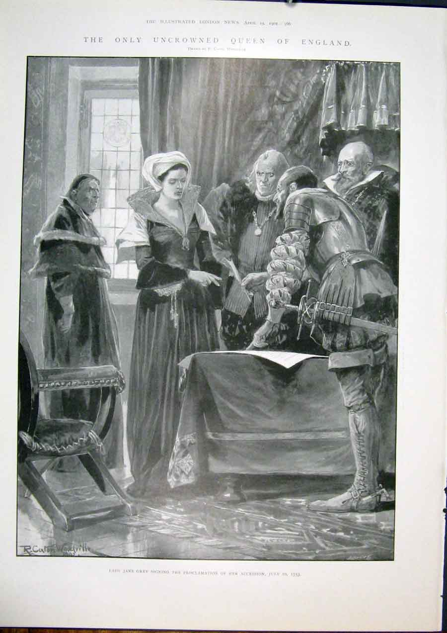 [Print Jane Greyuncrowned Queen Proclamation England 1553 66Maa0 Old Original]