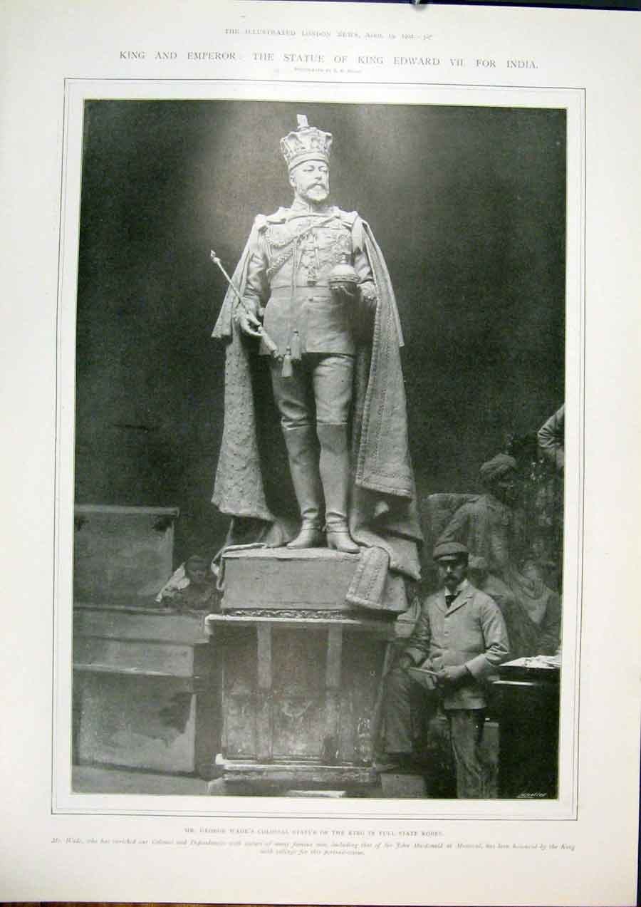 Print Statue King Edward India Wade Mills 1902 67Maa0 Old Original