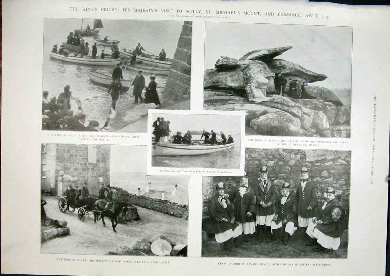 Print Scilly St Michael'S Mount Penzance England King Cruise 75Maa0 Old Original