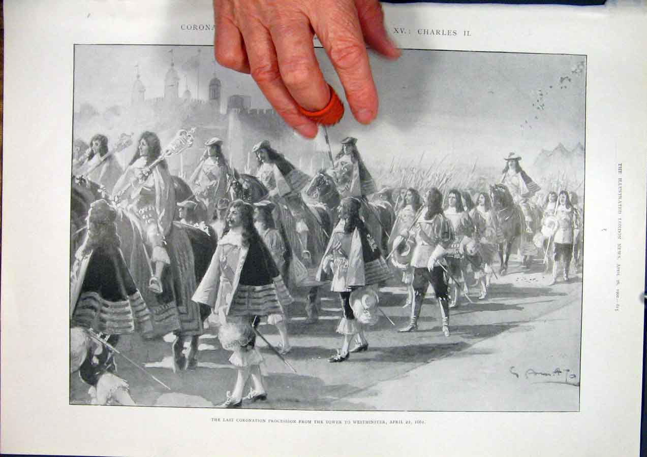 Print Coronation Sovereigns Charles Ii Westminster Procession 15Maa0 Old Original