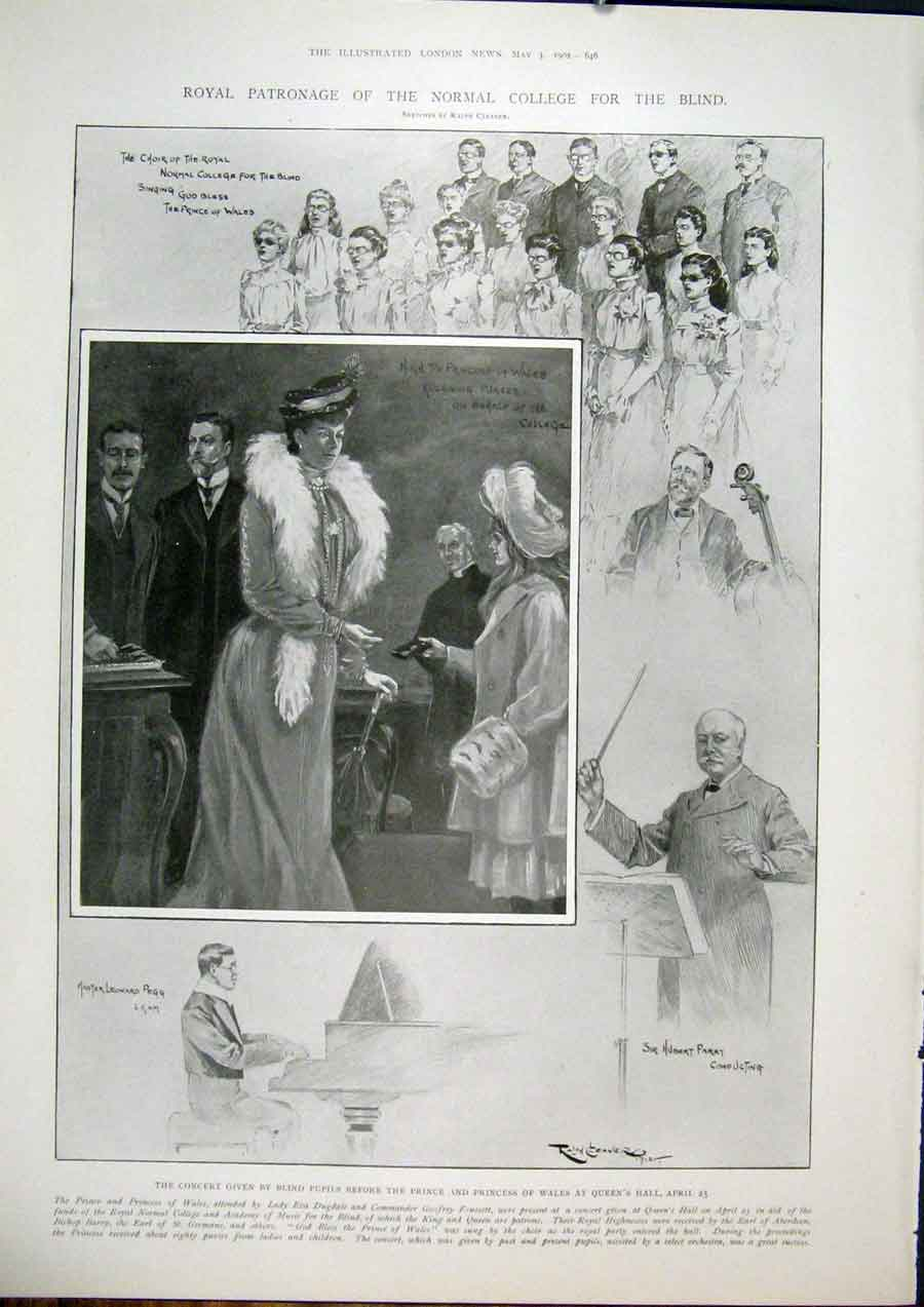 Print College Blind Concert London Parry Pegg Choir Hall 46Maa0 Old Original
