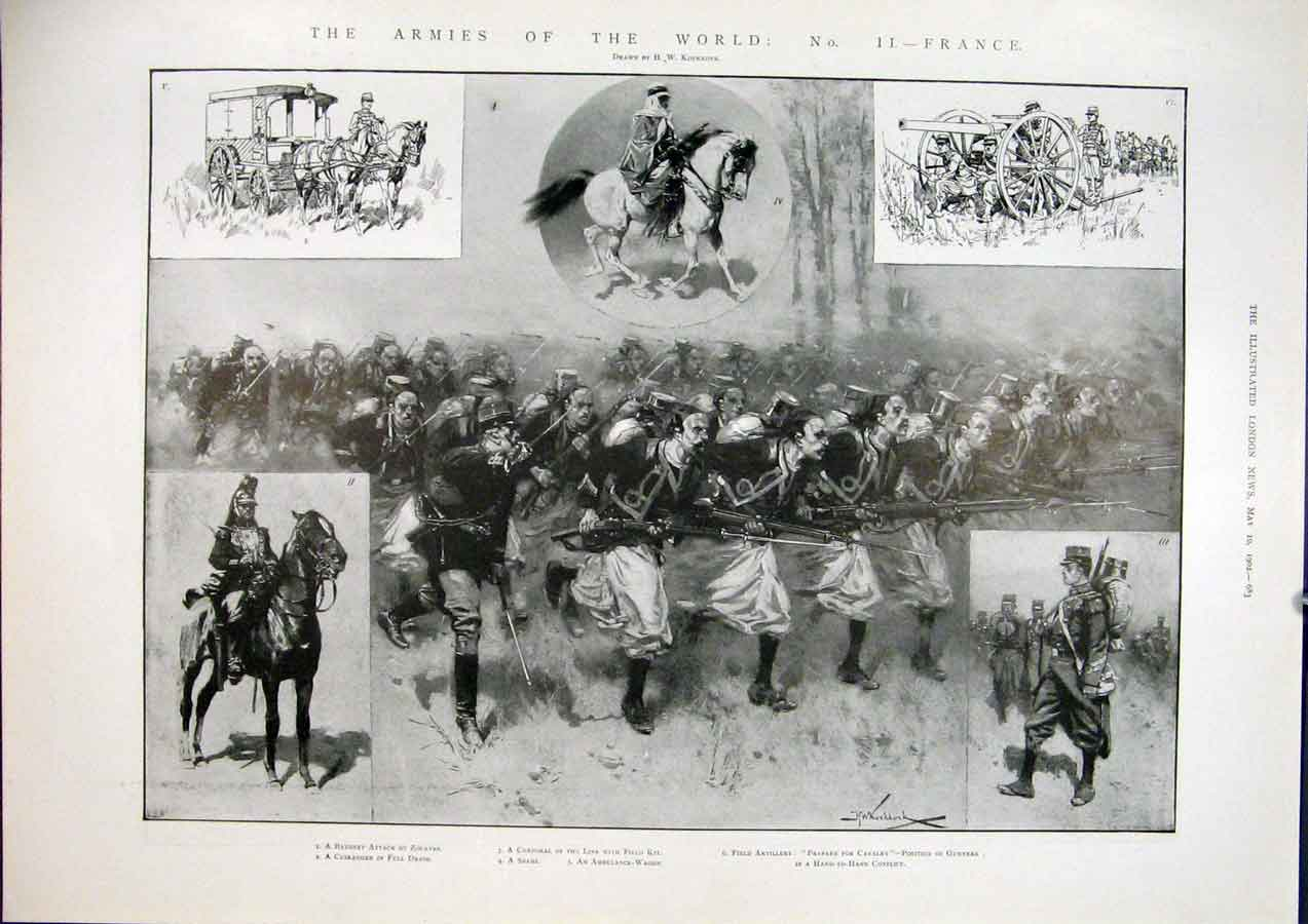 Print Army Armies World France French Cavalry Zouaves Spahi 83Maa0 Old Original