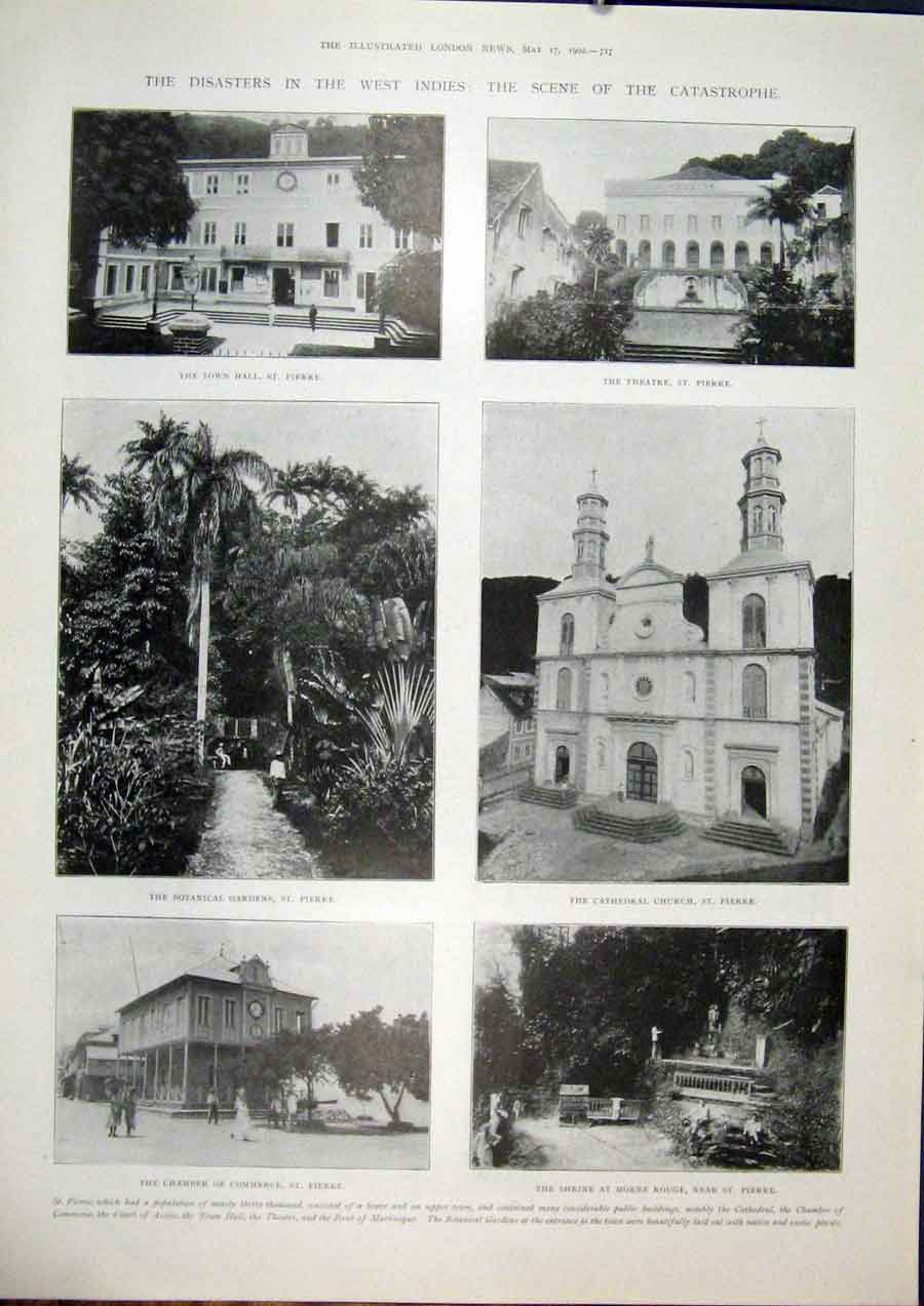Print West Indies St Pierre Cathedral Church Volcano 1902 17Maa0 Old Original
