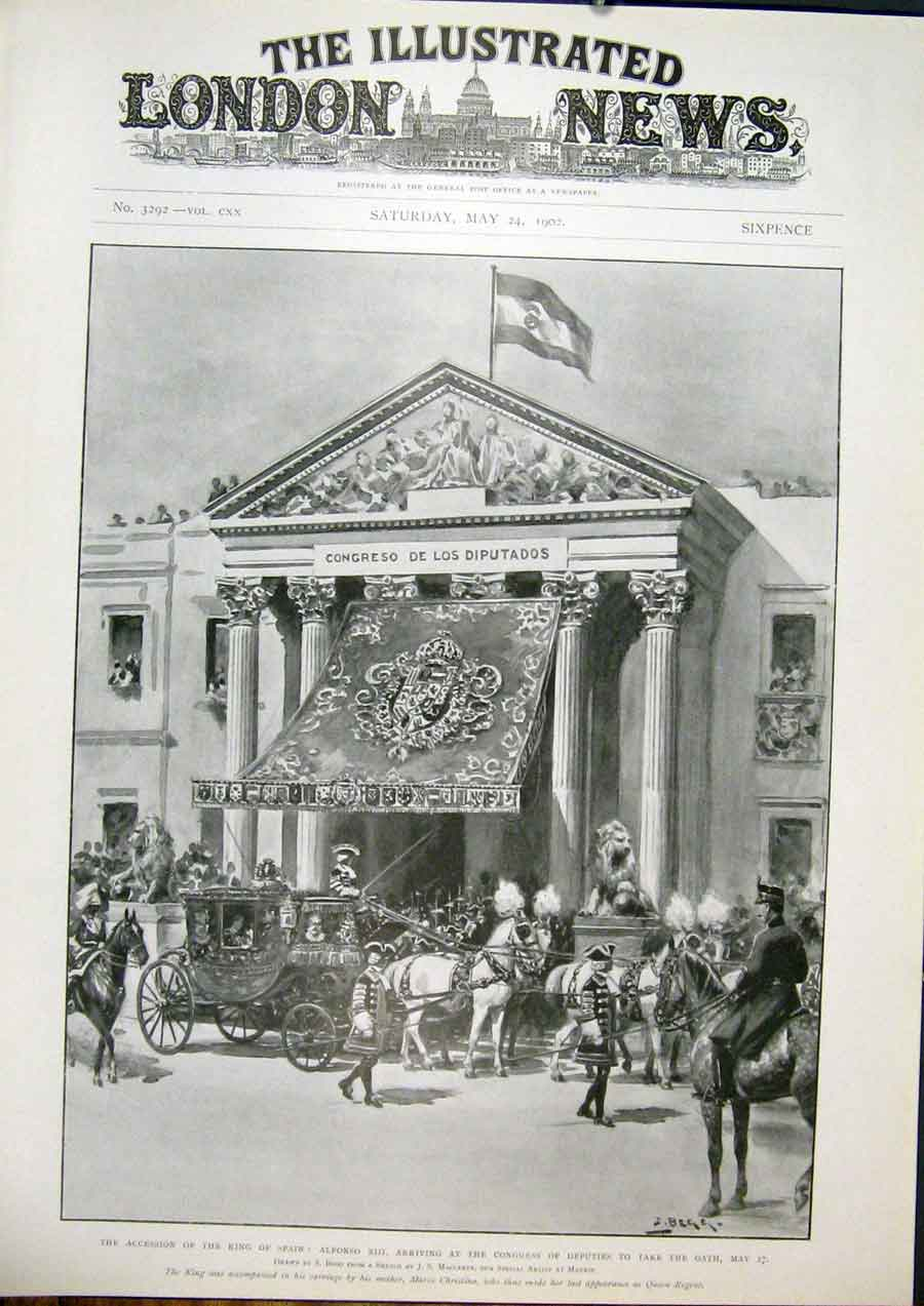 Print Alfonso Xiii Congress Accession Spain Madrid 1902 44Maa0 Old Original