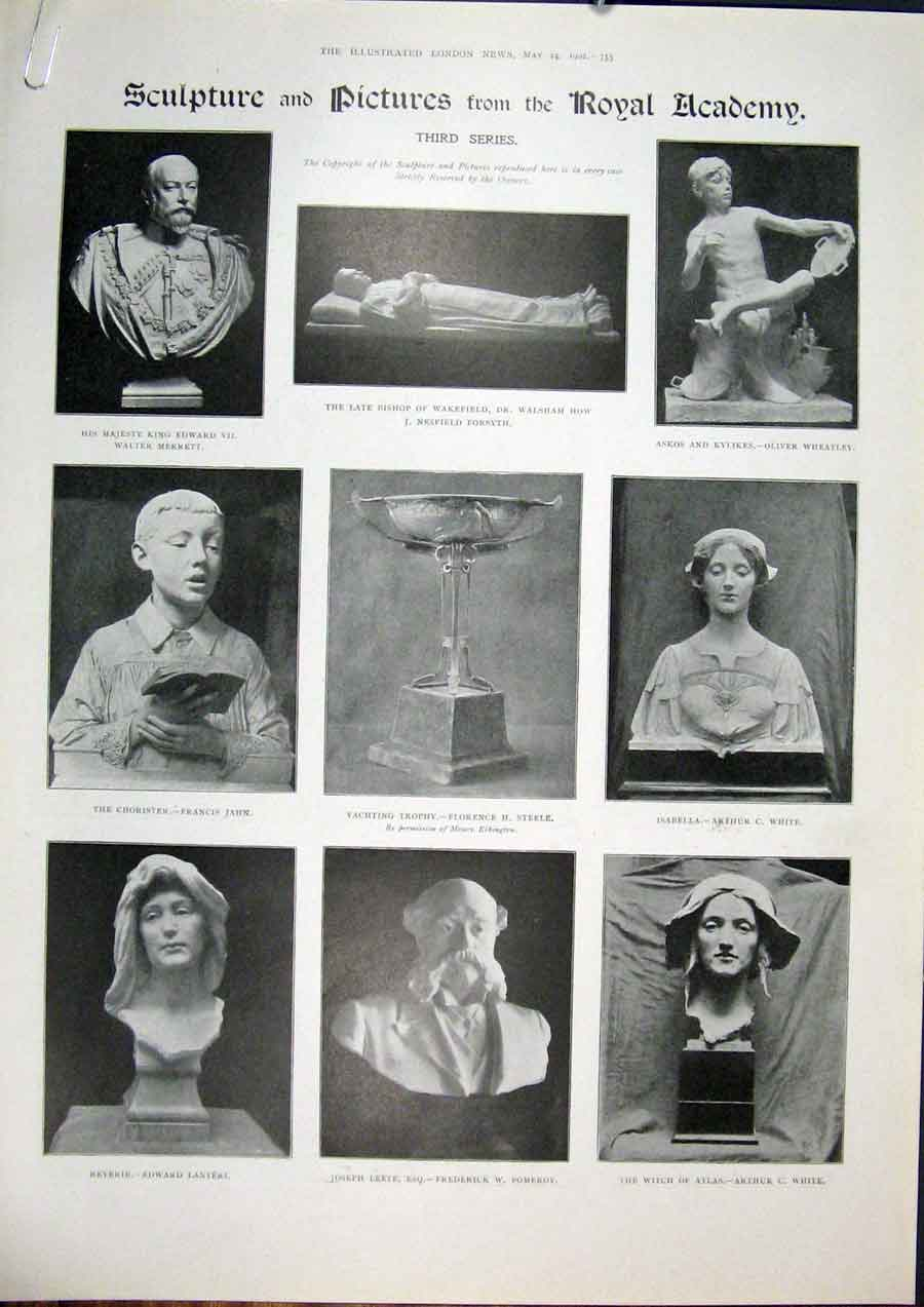 Print Sculpture Pictures Royal Academy Fine Art 1902 55Amaa0 Old Original