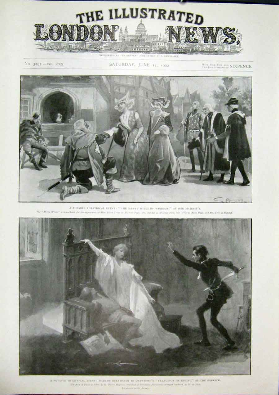 Print Theatre Windsor Majesty'S Garrick Crawford Benrhardt 58Maa0 Old Original