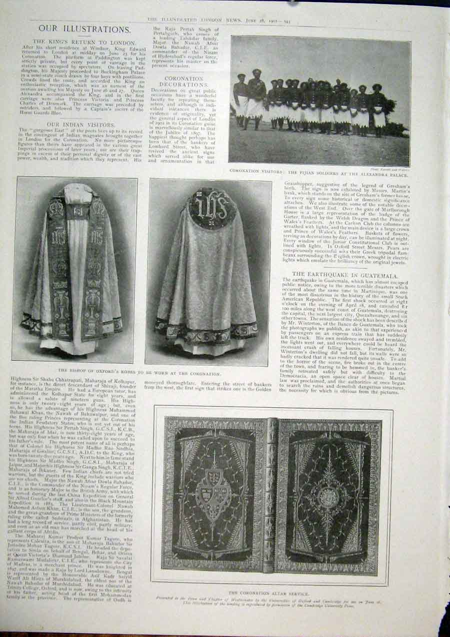Print Bishop Oxford Robe Coronation Altar Service 1902 41Maa0 Old Original