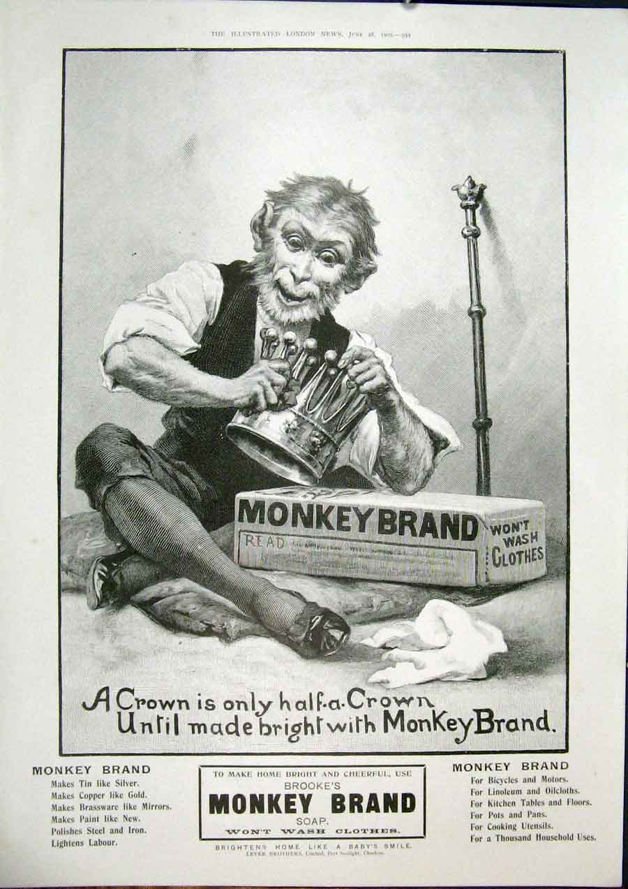Print Monkey Brand Soap Advert Brooke'S Lever Brothers 1902 59Maa0 Old Original