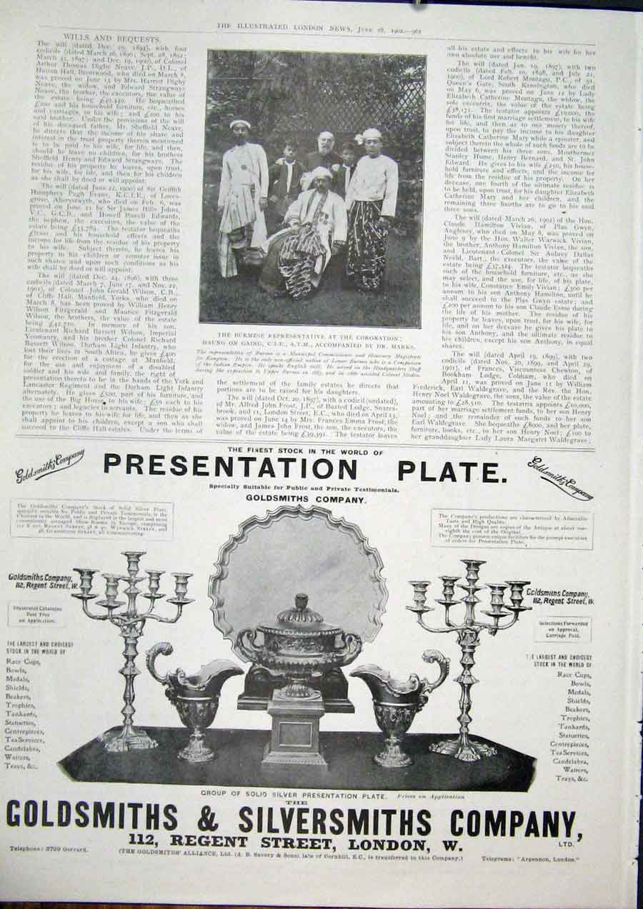 Print Goldsmiths Silversmith Advert London Gaing Burmese 1902 62Maa0 Old Original