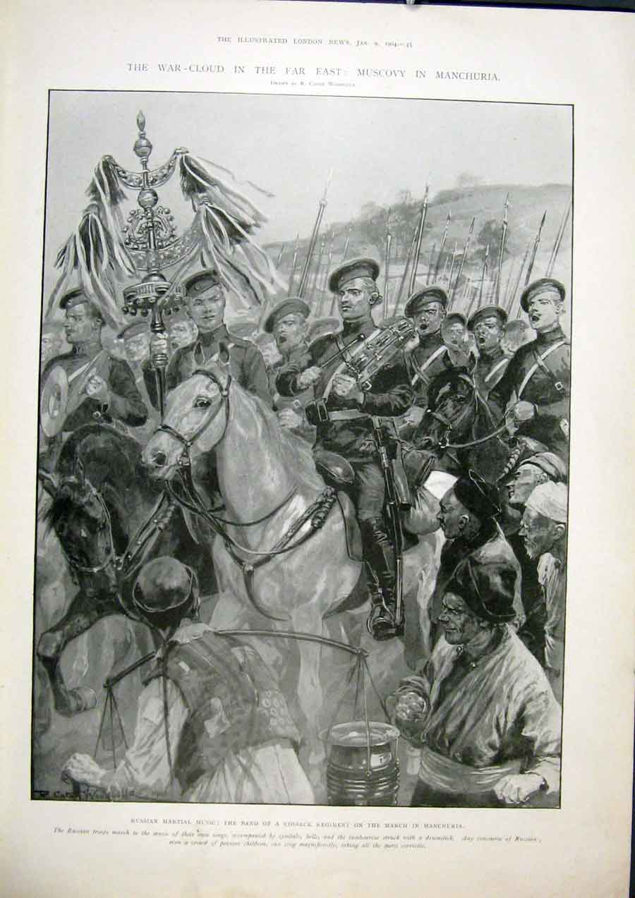 Print Muscovy Manchuria Russia Japan War Cossack 1904 45Maa0 Old Original