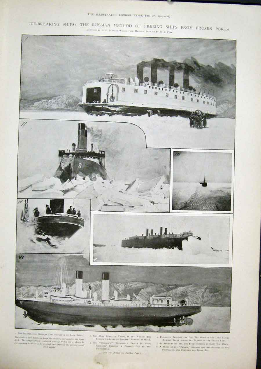 Print Russian Ship Frozen Ports Ice Breaking Ships Ermack 89Maa0 Old Original