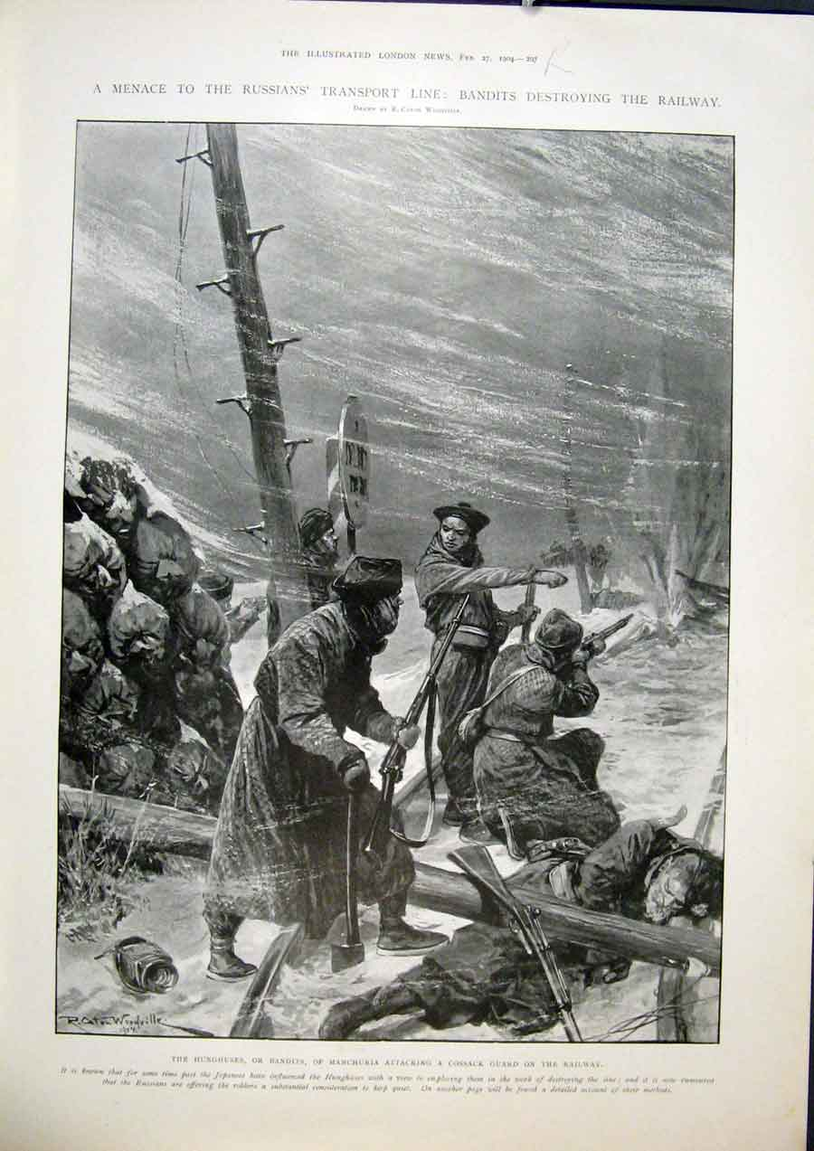 Print Transport Line Railway Manchuria Cossack Harbin 1904 97Rmaa0 Old Original