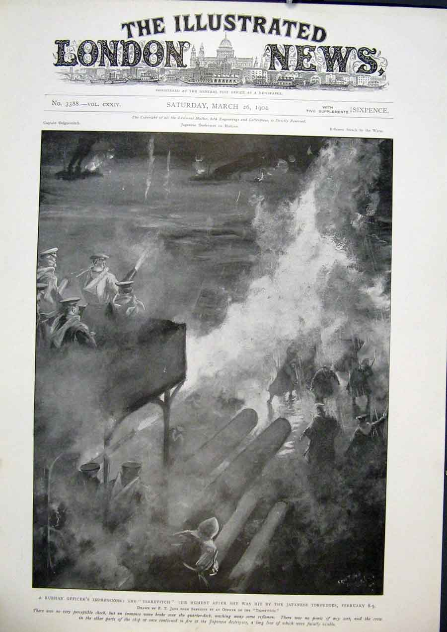 Print Tsarevitch Japanese Torpedo Russian Navy Ship Fire 48Maa0 Old Original
